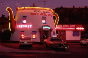 August 1993, Tacoma, Washington, USA --- Neon lights illuminate the popular Tacoma landmark Bob's Java Jive. The diner is shaped like an old-fashioned coffeepot. --- Image by © John McAnulty/CORBIS